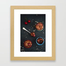Cherry chocolate cupcakes Framed Art Print