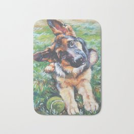 German Shepherd dog portrait painting by L.A.Shepard fine art alsatian Bath Mat