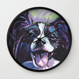 Papillon Fun Dog bright colorful Pop Art Painting by LEA Wall Clock