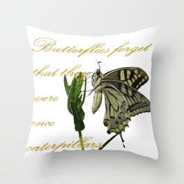Butterflies Forget They Were Once Caterpillars Proverbial Text Throw Pillow