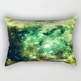 Lime Green Grass Galaxy Nebula Rectangular Pillow