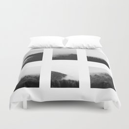 The Forests in Fog and Black and White Duvet Cover