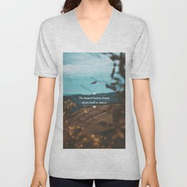 The deepest feeling always shows itself in silence. Unisex V-Neck