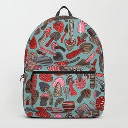 Mushroom Pattern turquoise Backpack
