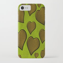 Cascading  Hearts  lime green  gold iPhone Case