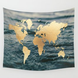 Gold Map in Water Wall Tapestry