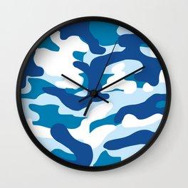 Blue Camo Wall Clock