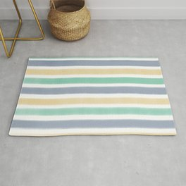 Biscay Green Faded Denim Sunlight Stripe Pattern Rug