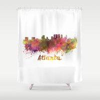 atlanta Shower Curtains featuring Atlanta skyline in watercolor by Paulrommer