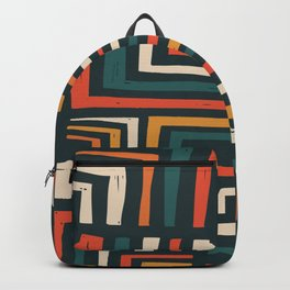 Square puzzle folk pattern Backpack