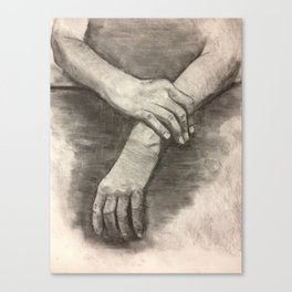 Charcoal Hands - human anatomy Canvas Print