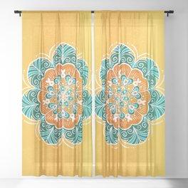 Blue, Orange & Yellow Flower Mandala Sheer Curtain