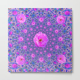 ORNATE THOUSANDS PINK ROSES & BLUE  ABSTRACT Metal Print