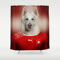 switzerland Shower Curtains featuring Worldcup 2014 : Switzerland - Swiss Sheperd by Life on White Creative