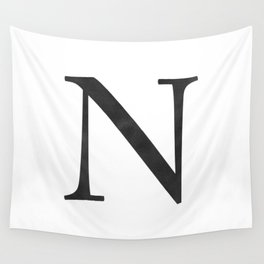 Letter N Initial Monogram Black and White Wall Tapestry