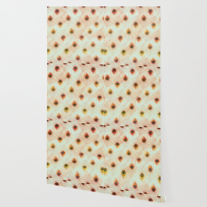 Peacock Feather Pastel Peach Teal Zigzag Wallpaper