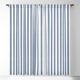 WASHED DENIM CHAMBRAY STRIPES Blackout Curtain