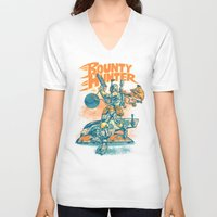 stickers V-neck T-shirts featuring BOUNTY HUNTER by BeastWreck