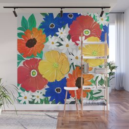 Colorful Spring Floral Hand Paint Girly Design Wall Mural