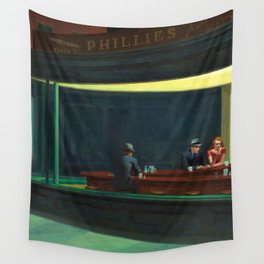 NIGHTHAWKS downtown diner late at night iconic cityscape oil on canvas painting by Edward Hopper Wall Tapestry