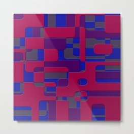 offset puzzle rounded graphic squares in a red and blue colour set Metal Print