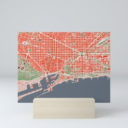 Barcelona city map classic Mini Art Print