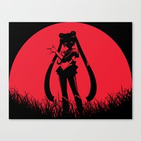sailormoon Canvas Prints featuring Red Moon SailorMoon by Timeless-Id