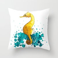 sea horse Throw Pillows featuring Sea Horse by Lore Illustration