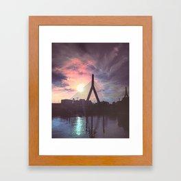New England City Bridge Sunset Framed Art Print
