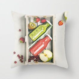 Green and red fresh juices or smoothies Throw Pillow