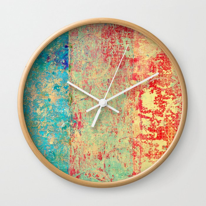 Brilliant Encounter, Abstract Art Turquoise Red Wall Clock by itaya ...