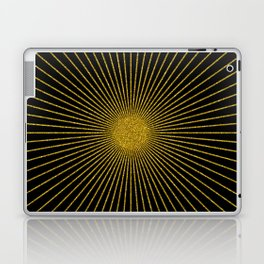 Gold glitter sun rays, gold glitter, gold black abstract geometric, gold sparkles Laptop & iPad Skin