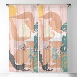 Tropical Yoga #illustration #tropical Sheer Curtain