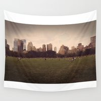 central park Wall Tapestries featuring Central Park Stroll by fat dominic