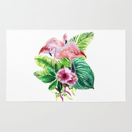 Tropical leaves and pink flamingo Rug