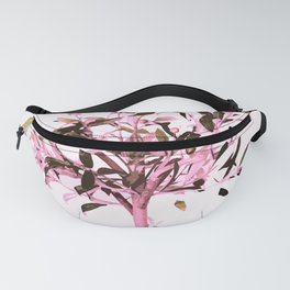 Little olive tree with pink tones on a white background Fanny Pack