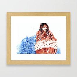 Flowers and Hanbok Framed Art Print