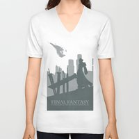 final fantasy V-neck T-shirts featuring Final Fantasy VII by [SilenceCorp.]