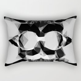 psychedelic skull art geometric triangle pattern abstract in black and white Rectangular Pillow