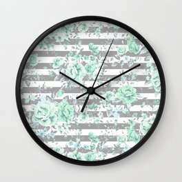 MINT FLORAL GRAY STRIPES SPRING Wall Clock