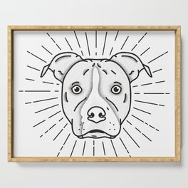 Radiant Dog Print - Black and White Serving Tray