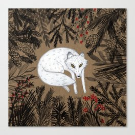 white fox in forest, woodland flora, black and white and red Canvas Print
