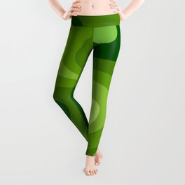Multi Color Green Liquid Abstract Design Leggings