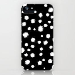 Linocut minimal black and white dots pattern minimalist dotted print basic art iPhone Case