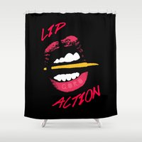 lip Shower Curtains featuring Lip Action by Kidney Theft