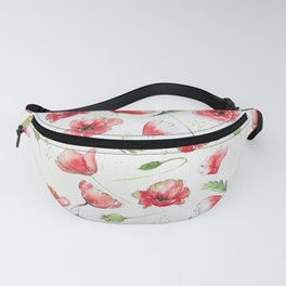 Loose poppies on watercolor background Fanny Pack