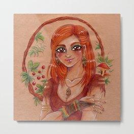 Nature lover - girl with mushrooms and berries Metal Print