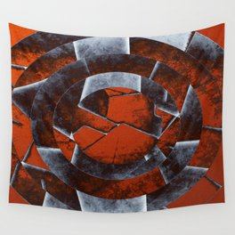 Concentric Rust - Abstract, geometric, tectured art in rustic brown, black and white Wall Tapestry