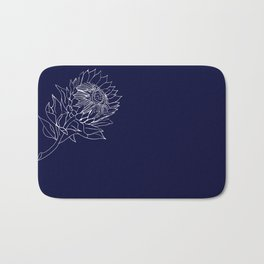 King Protea Outline - Navy and White Bath Mat
