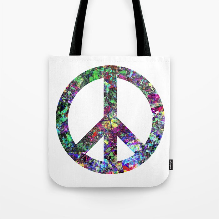 Colorful Peace Sign Tote Bag